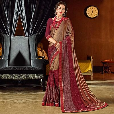 Sizzling Maroon Colored Designer Embroidered Jacquard Saree