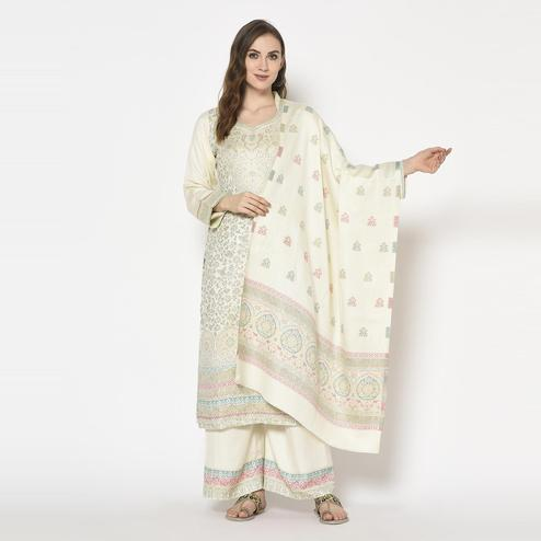 Safaa - Cream Colored Party Wear Printed Acro Wool Dress Material