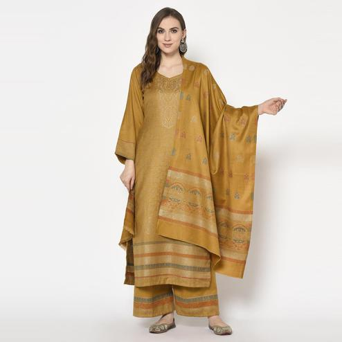 Safaa - Mustard Yellow Colored Party Wear Printed Acro Wool Dress Material