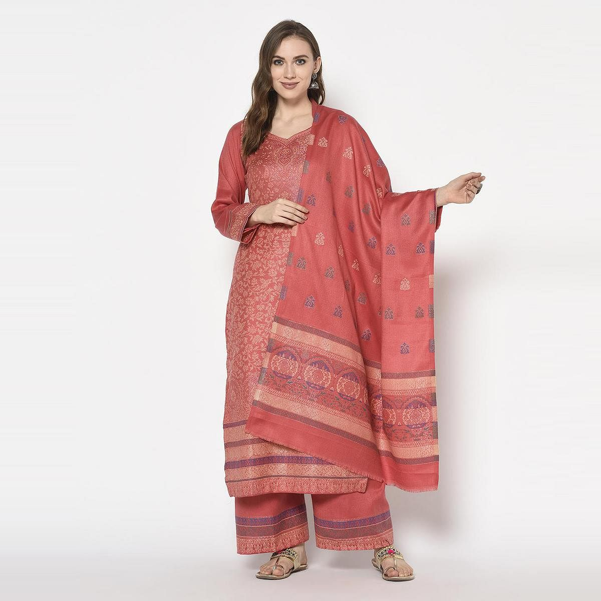 Safaa - Peach Colored Party Wear Printed Acro Wool Dress Material