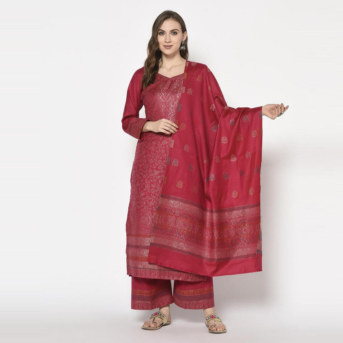 Safaa - Red Colored Party Wear Printed Acro Wool Dress Material