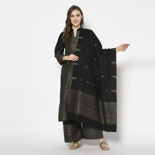Safaa - Black Colored Party Wear Printed Acro Wool Dress Material