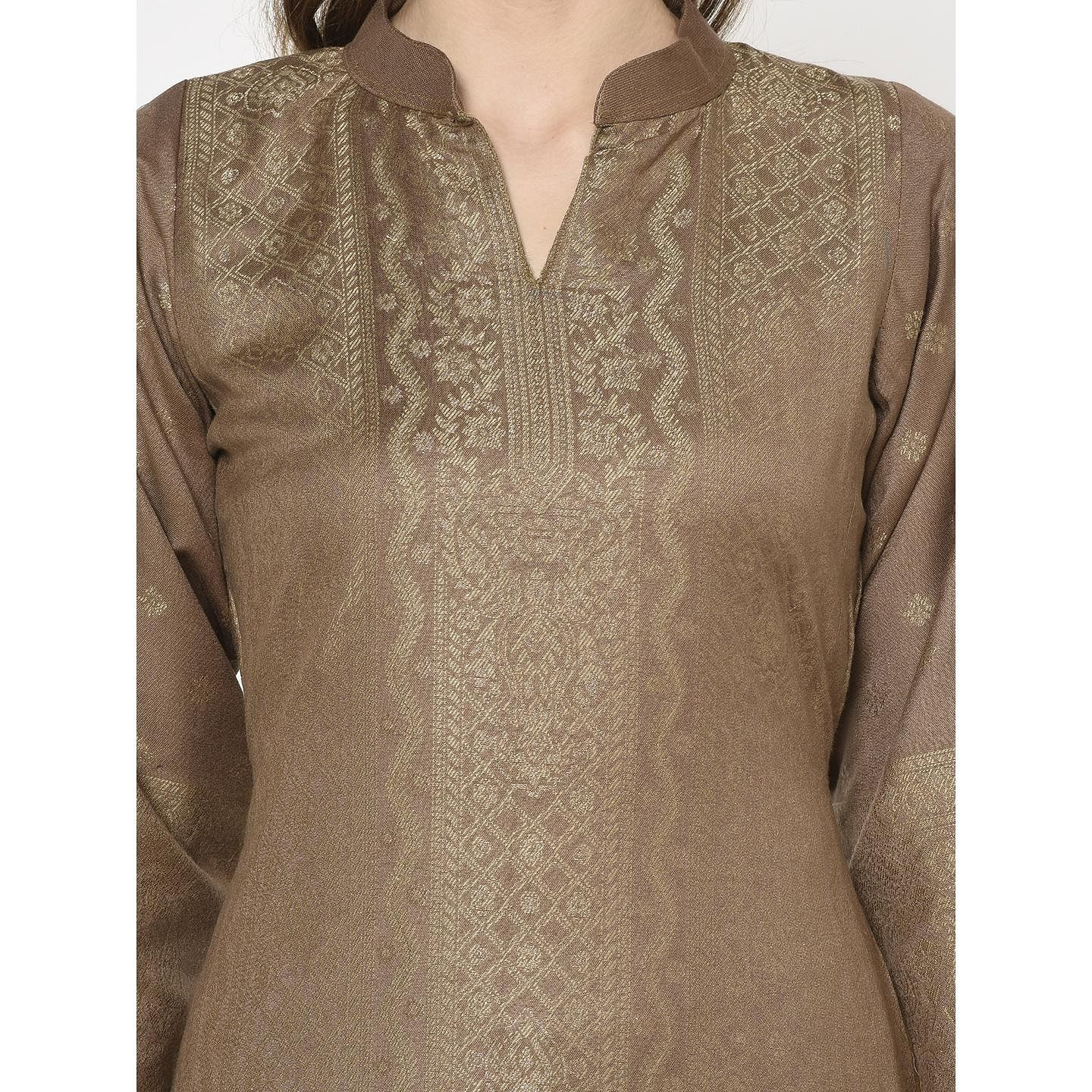 Safaa - Brown Colored Party Wear Printed Acro Wool Dress Material