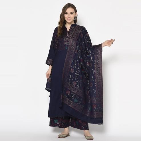 Safaa - Navy Blue Colored Party Wear Printed Acro Wool Dress Material