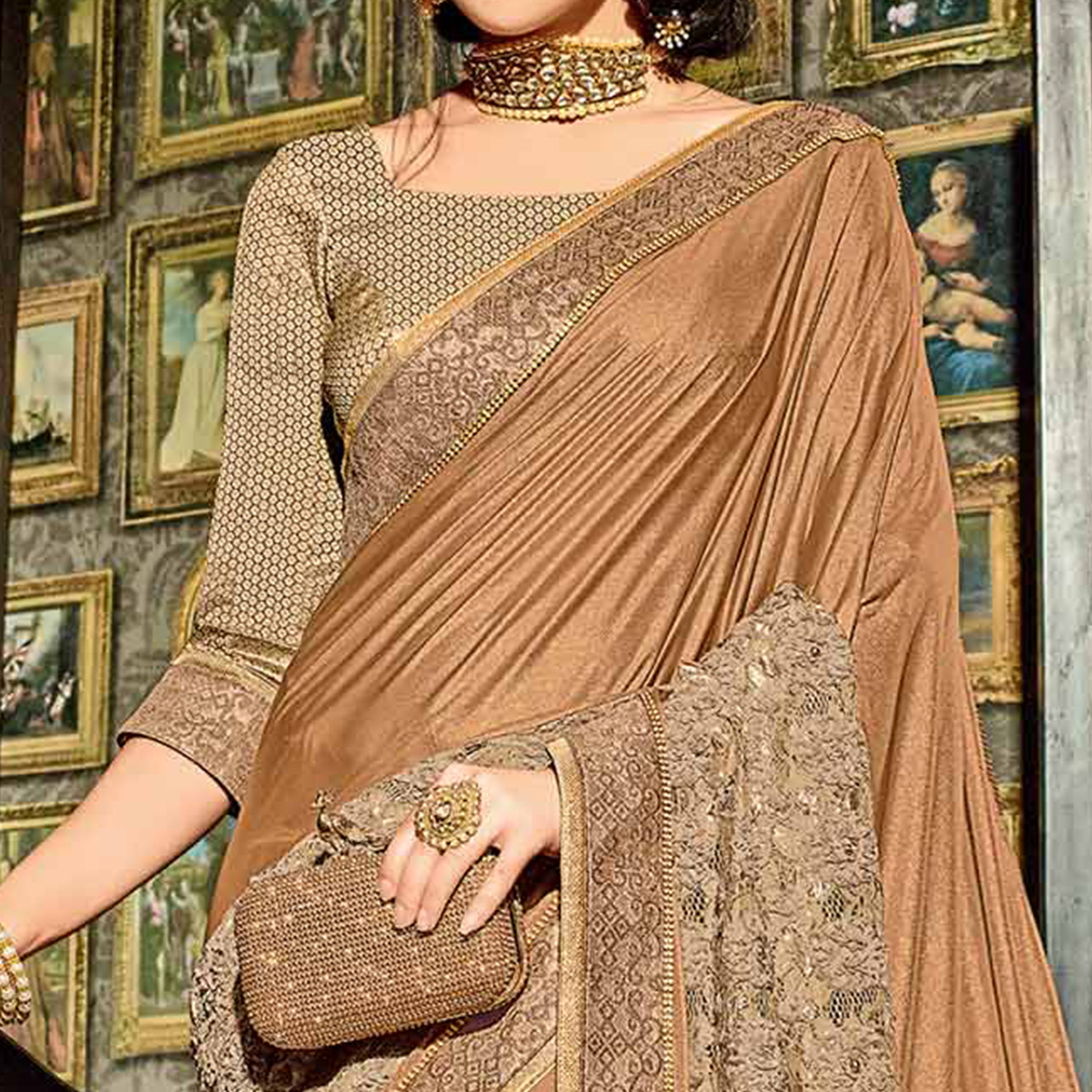 Mesmerising Brown Colored Designer Embroidered Jacquard Saree
