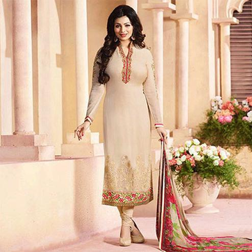 Light Beige Straight Cut Georgette Suit