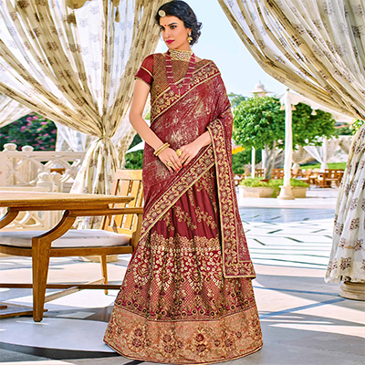 Marvellous Maroon Colored Designer Embroidered Georgette And Lycra Lehenga Saree