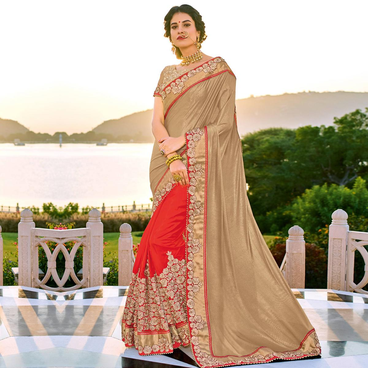 Lovely Beige-Orange Colored Designer Embroidered Lycra And Silk Saree