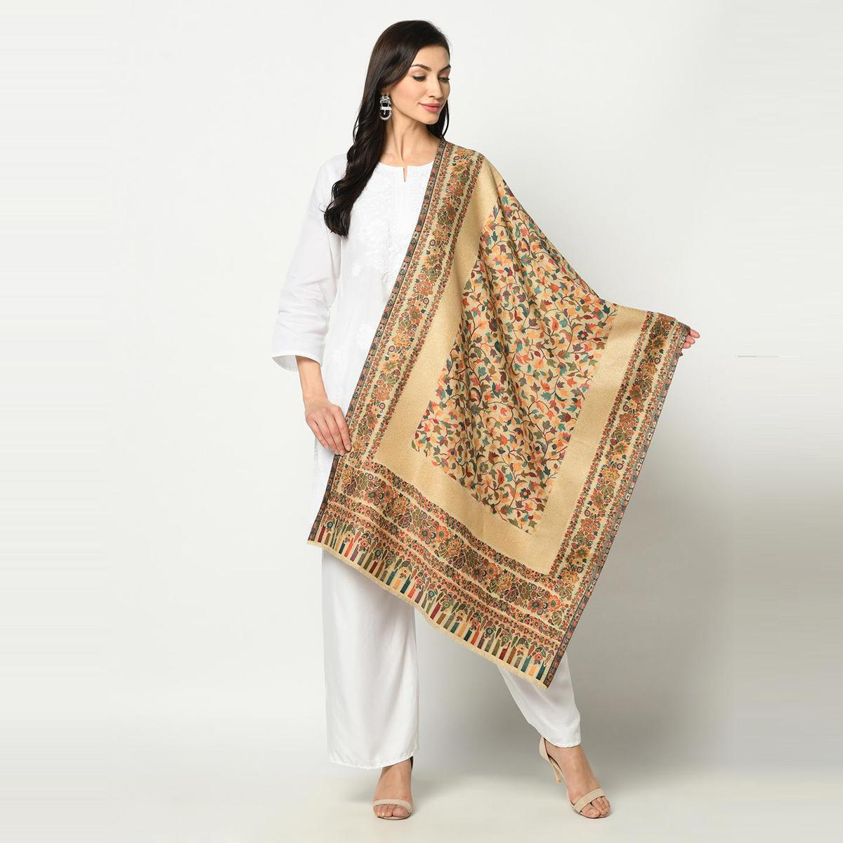 Safaa - Beige Colored Printed Poly Wool Stole