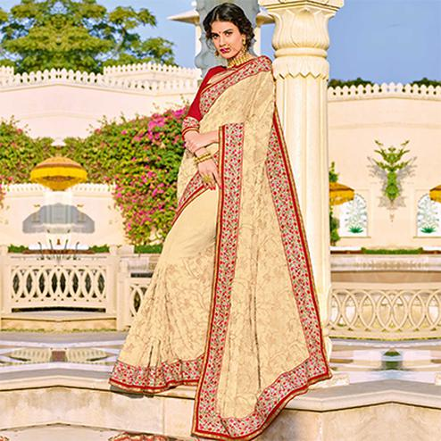 Elegant Off-White Colored Designer Embroidered Georgette Saree