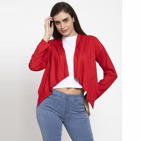 Ayaany - Red Colored Casual Cotton Shrug