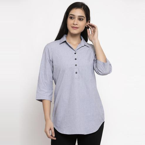 Ayaany - Grey Colored Casual Pure Cotton Top