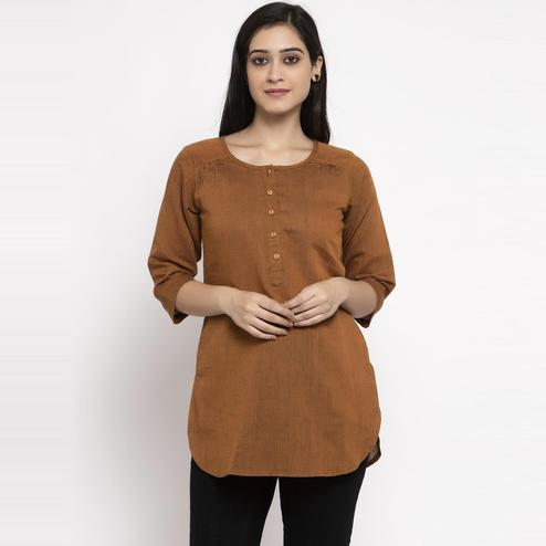 Ayaany - Brown Colored Casual Pure Cotton Top