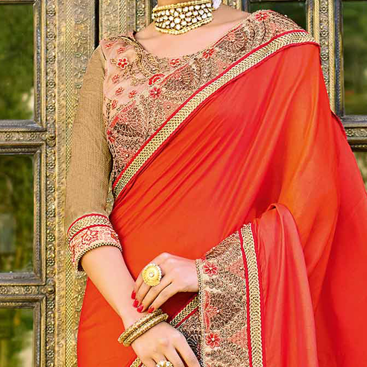 Classy Orange-Beige Colored Designer Embroidered Silk And Lycra Saree