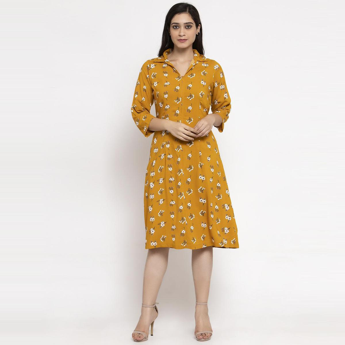 Ayaany - Mustard Yellow Colored Casual Floral Printed Cotton Dress