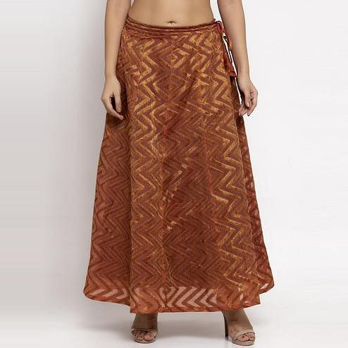 Ayaany - Bronze Colored Casual Chanderi Silk Skirt