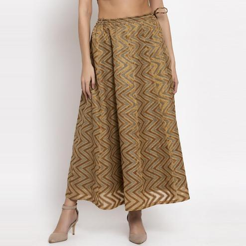 Ayaany - Silver Colored Casual Chanderi Silk Skirt