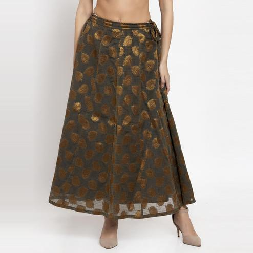 Ayaany - Light Blue Colored Casual Chanderi Silk Skirt