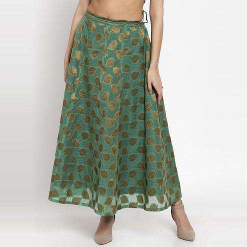 Ayaany - Light Green Colored Casual Chanderi Silk Skirt