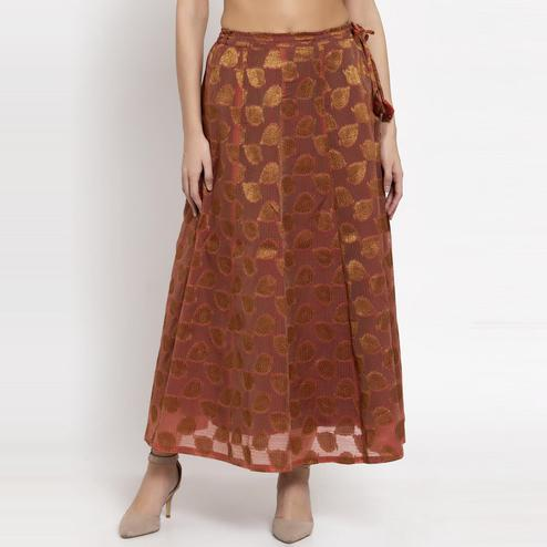 Ayaany - Brown Colored Casual Chanderi Silk Skirt