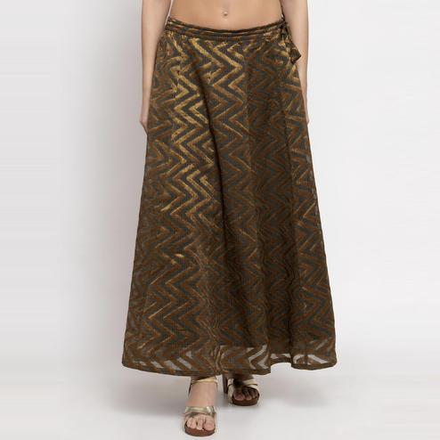 Ayaany - Violet Colored Casual Chanderi Silk Skirt