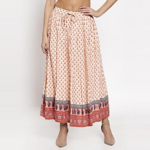 Ayaany - Cream Colored Casual Cotton Skirt