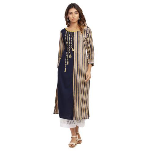 Vastrakaar - Blue Colored Casual Round Neck Embroidered Rayon Kurti With Pocket
