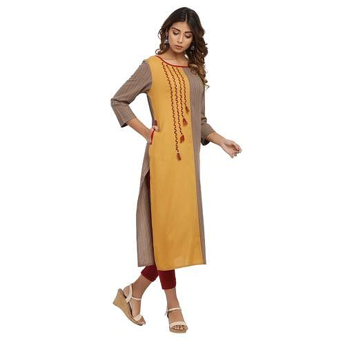 Vastrakaar - Mustard Brown Colored Casual Round Neck Embroidered Rayon Kurti With Pocket