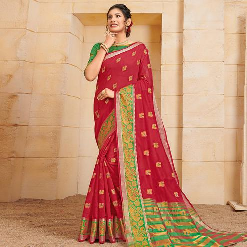 Adorable Red Colored Festive Wear Woven Cotton Saree