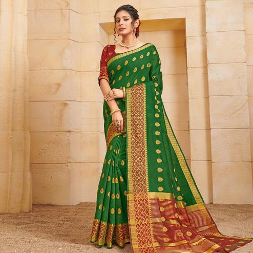 Glorious Green Colored Festive Wear Woven Cotton Saree
