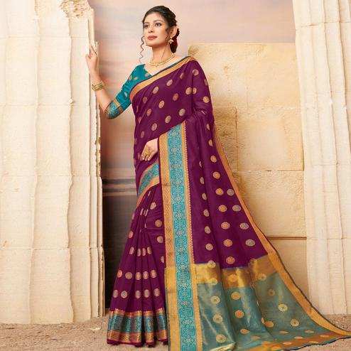 Attractive Purple Colored Festive Wear Woven Cotton Saree