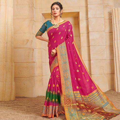 Beautiful Pink Colored Festive Wear Woven Cotton Saree
