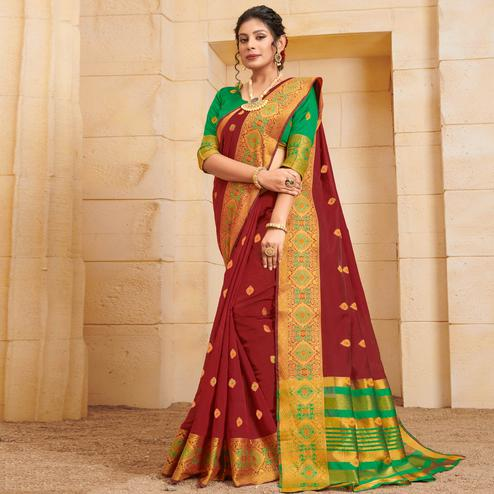 Graceful Maroon Colored Festive Wear Woven Cotton Saree