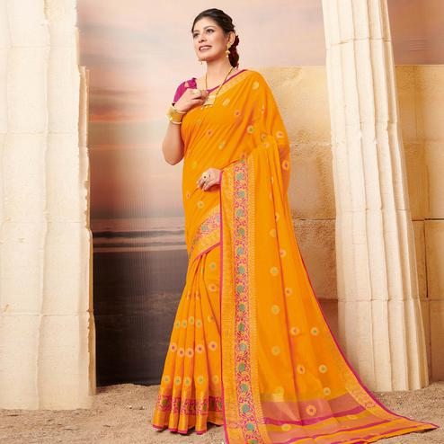 Blooming Yellow Colored Festive Wear Woven Cotton Saree