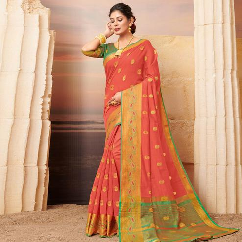 Charming Peach Colored Festive Wear Woven Cotton Saree