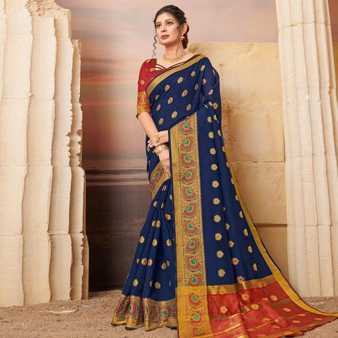 Jazzy Navy Blue Colored Festive Wear Woven Cotton Saree