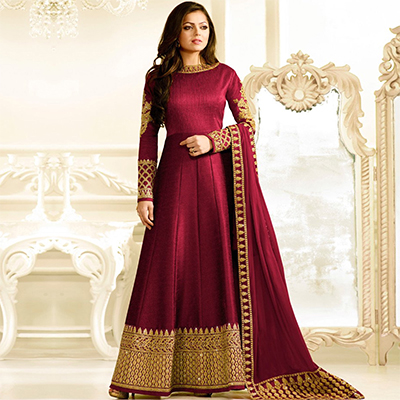 Gorgeous Maroon Designer Partywear Embroidered Banglori Silk Anarkali Suit