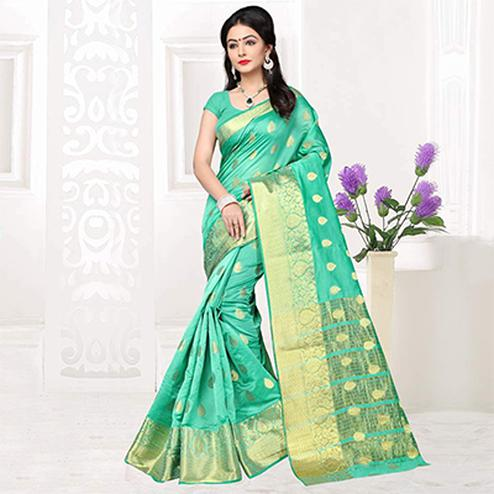 Firozi Green Weaving Silk Saree