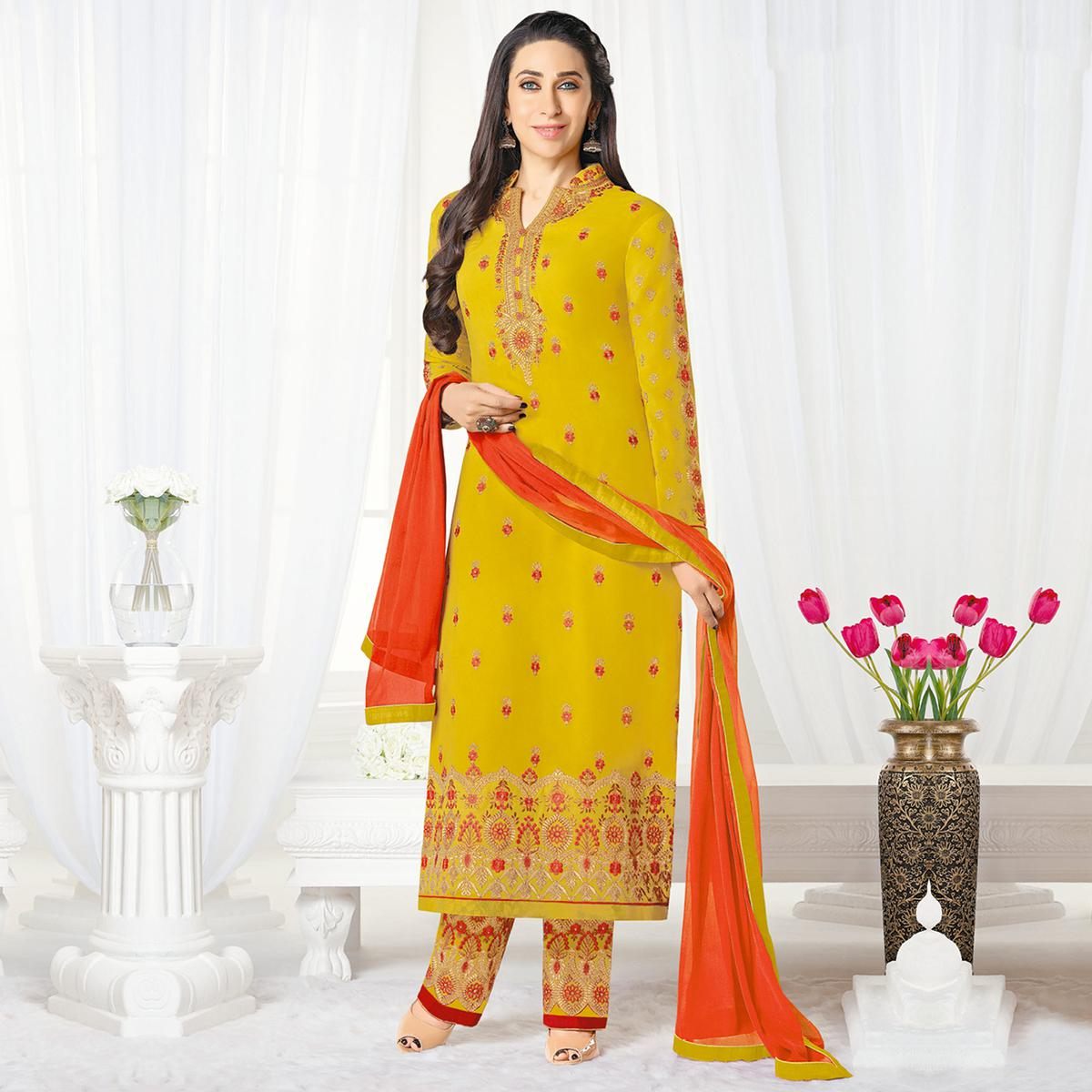 3f2bbbfde8 Buy Beautiful Yellow Designer Embroidered Faux Georgette Salwar Suit Online  India, Best Prices, Reviews - Peachmode