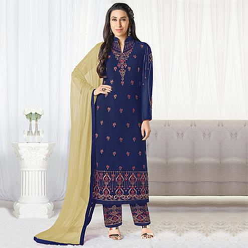 Lovely Navy Blue Designer Embroidered Faux Georgette Salwar Suit