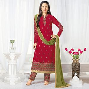 Gorgeous Maroon Designer Embroidered Faux Georgette Salwar Suit