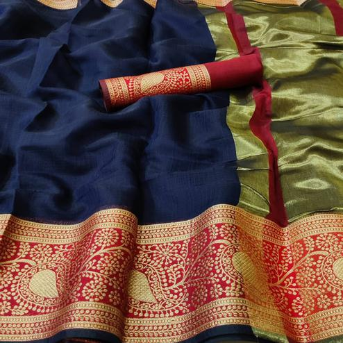 Alluring Navy Blue Colored Festive Wear Woven Kota Doria Saree