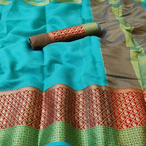 Sensational Aqua Blue Colored Festive Wear Woven Kota Doria Saree