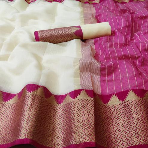 Flaunt White - Pink Colored Festive Wear Woven Kota Doria Saree