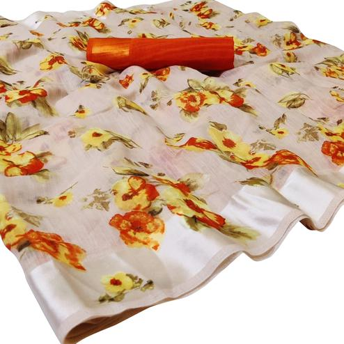 Stunning Offwhite Colored Casual Wear Floral Printed Cotton-Linen Saree