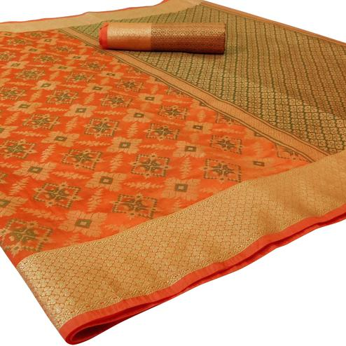 Classy Orange Colored Festive Wear Woven Silk Saree