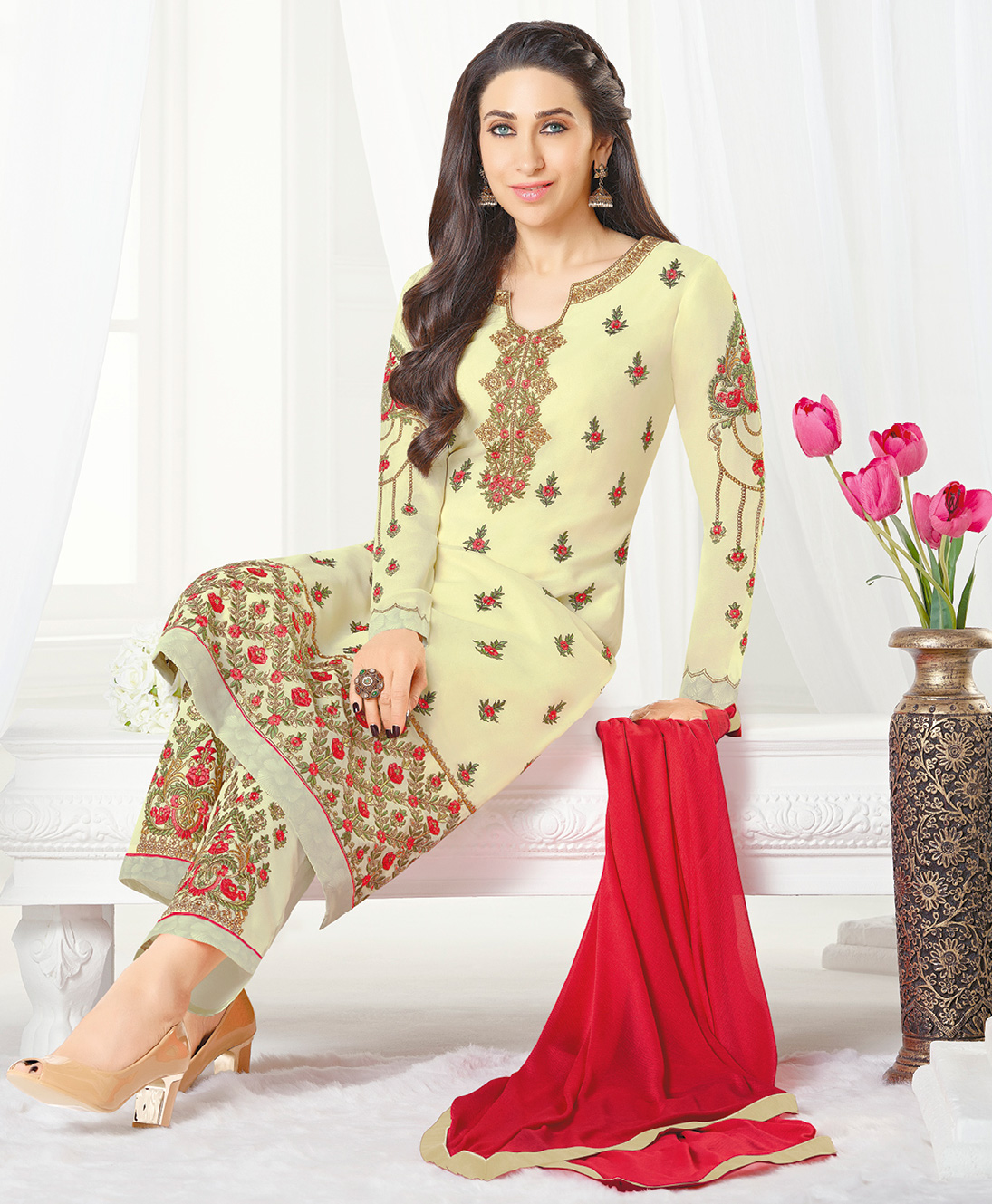 Regal Off-White Designer Embroidered Faux Georgette Salwar Suit