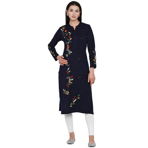 Fabnest - Women Navy Colored Bead Work Embroidered Acrylic Kurti