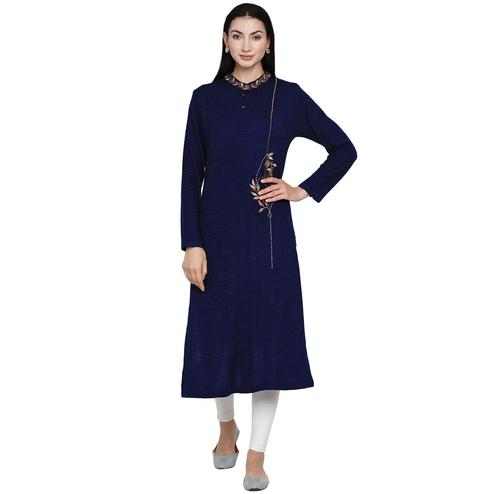 Fabnest - Women Navy Colored Self Design Embroidered Acrylic Kurti