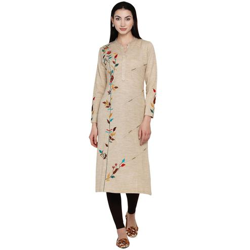 Fabnest - Women Beige Colored Bead Work Embroidered Acrylic Kurti